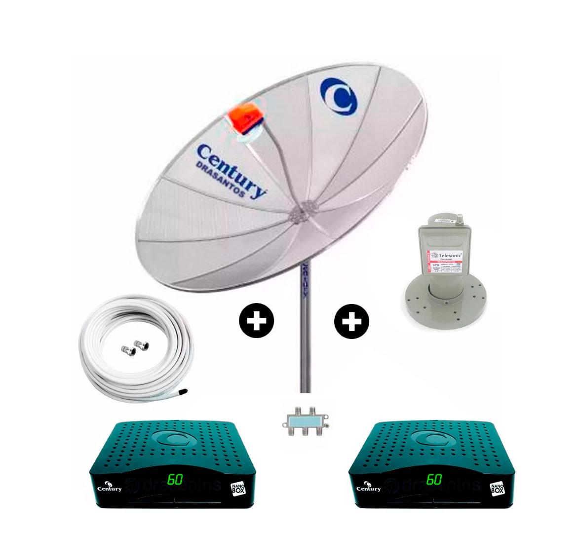 Antena Parabolica Century 170cm + 2 Receptor + Mult + Cabo