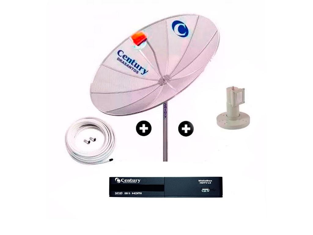 Antena Parabolica Century 190 cm Digital Hd Completa Midabox Multiponto