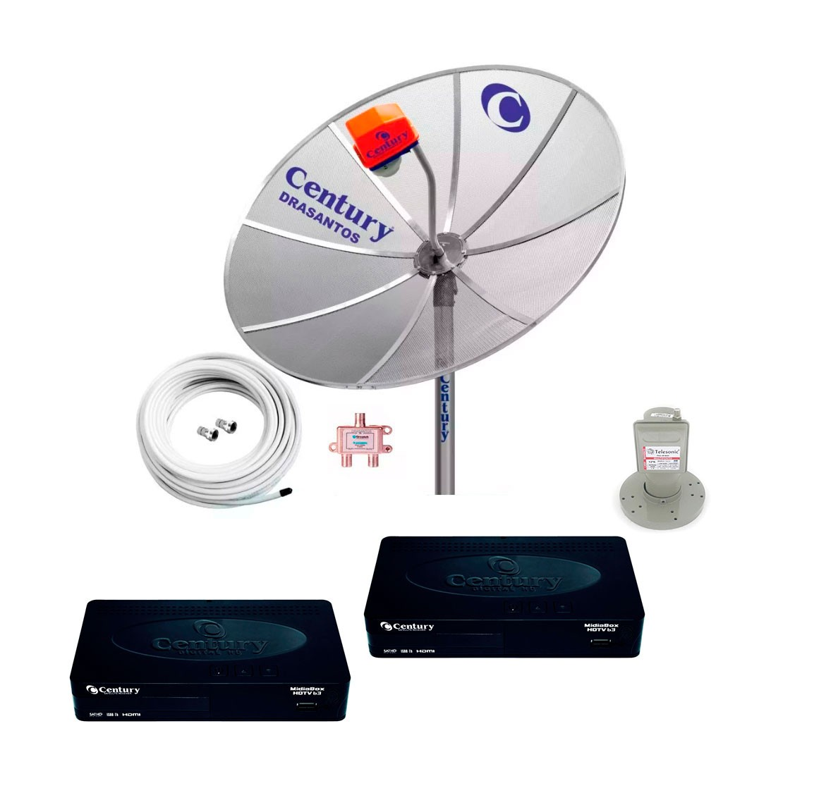 Antena Parabolica Digital Hd Multiponto Completa 2 Midiabox