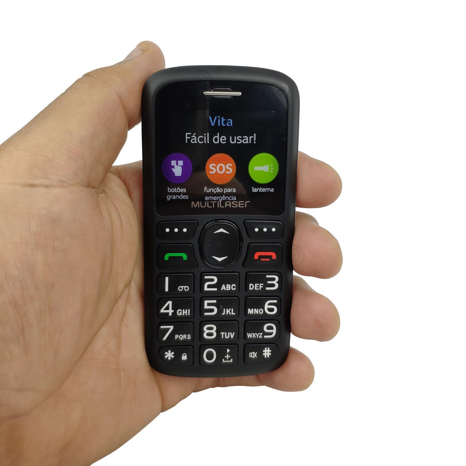 Celular Rural Multilaser Vita 3g P9091 MP3 Bluetooth Camera Tecla Grande Para Idoso com Entrada para Antena Externa,