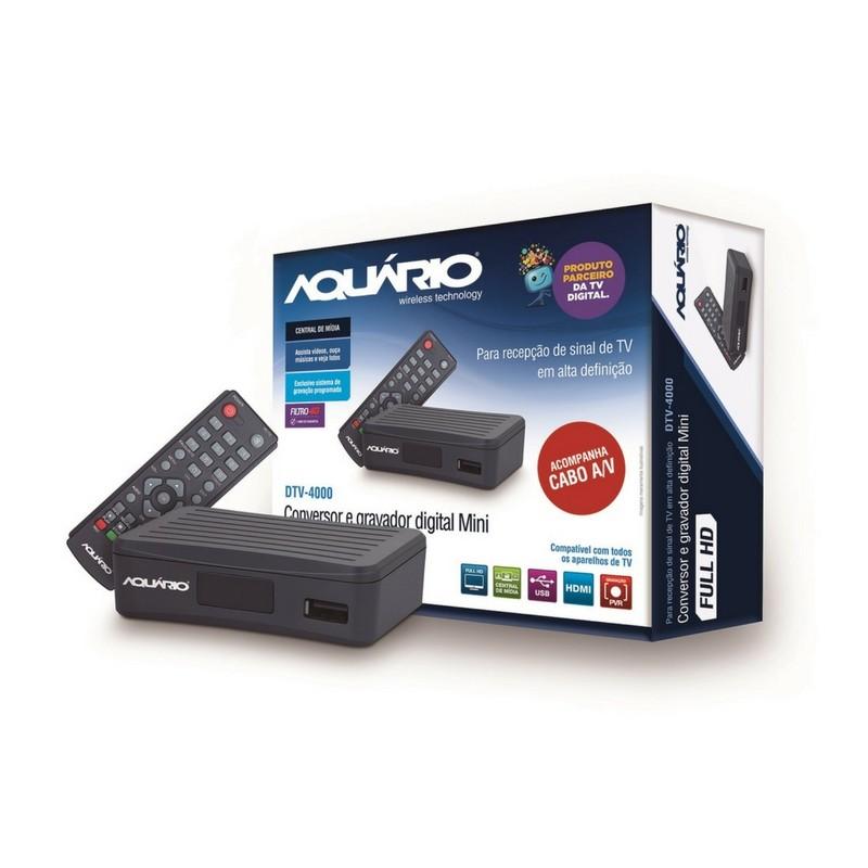 Conversor Digital gravador para TV Aberta Full HD Aquário DTV-4000