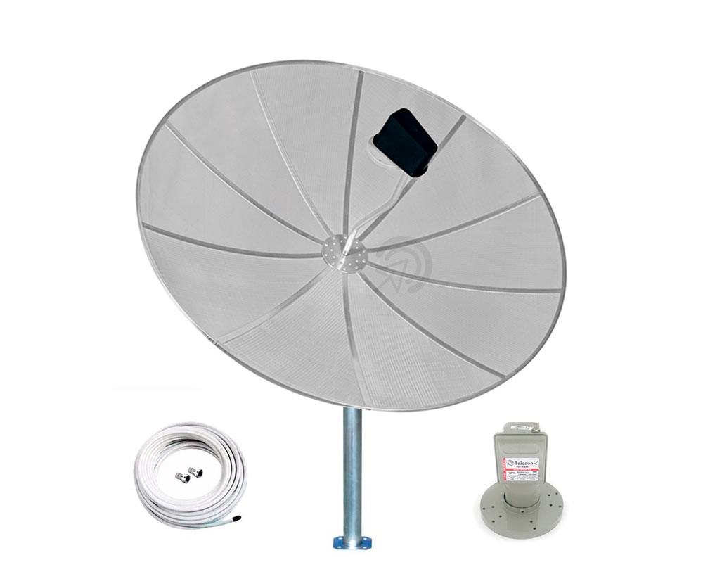 Kit Antena Parabólica Banda C 190cm 1,90m Multiponto estendido e Cabo