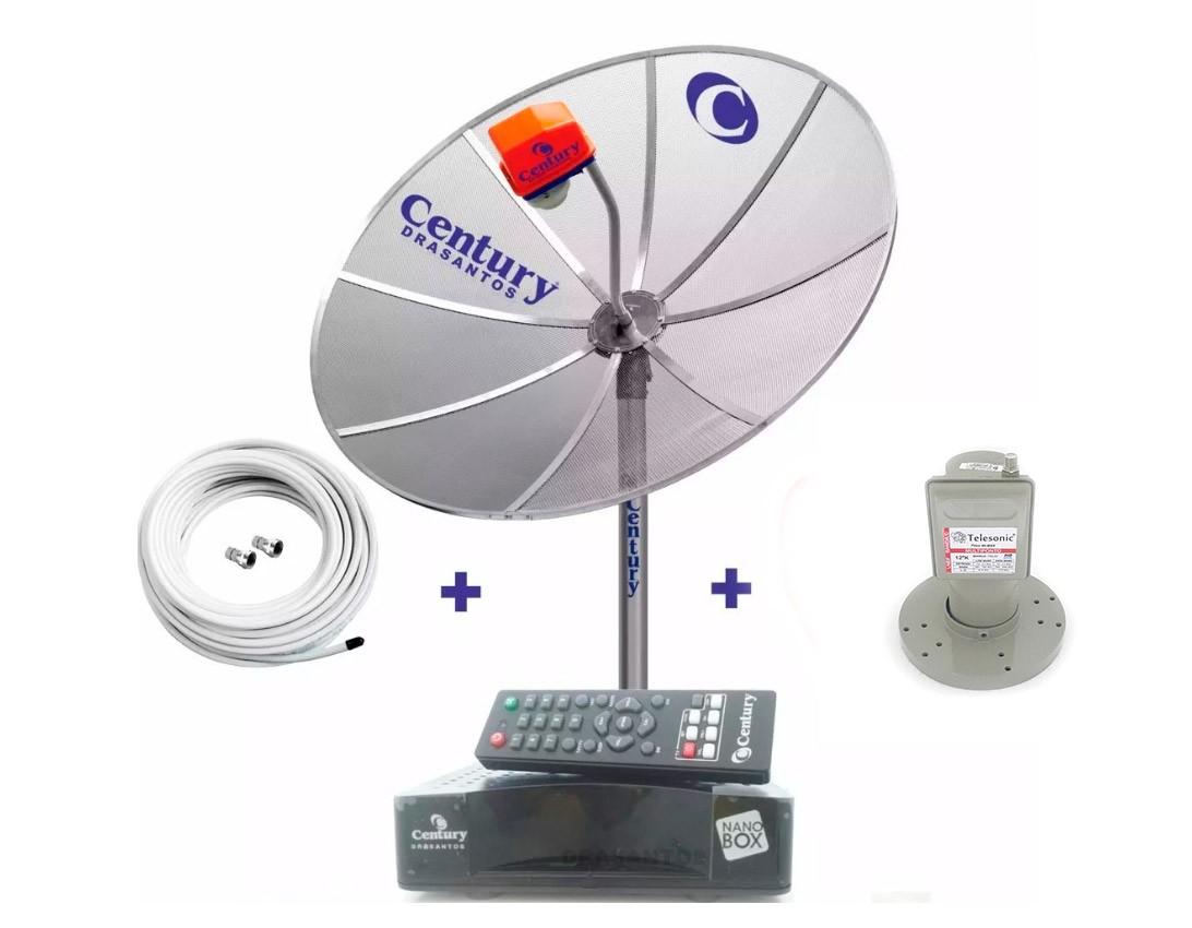 Kit Antena Parabolica Century Analógica + Multiponto + Receptor + Cabo