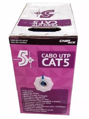 Cabo De Rede Azul Cat 5 Caixa com 305 Metros Chip Sce