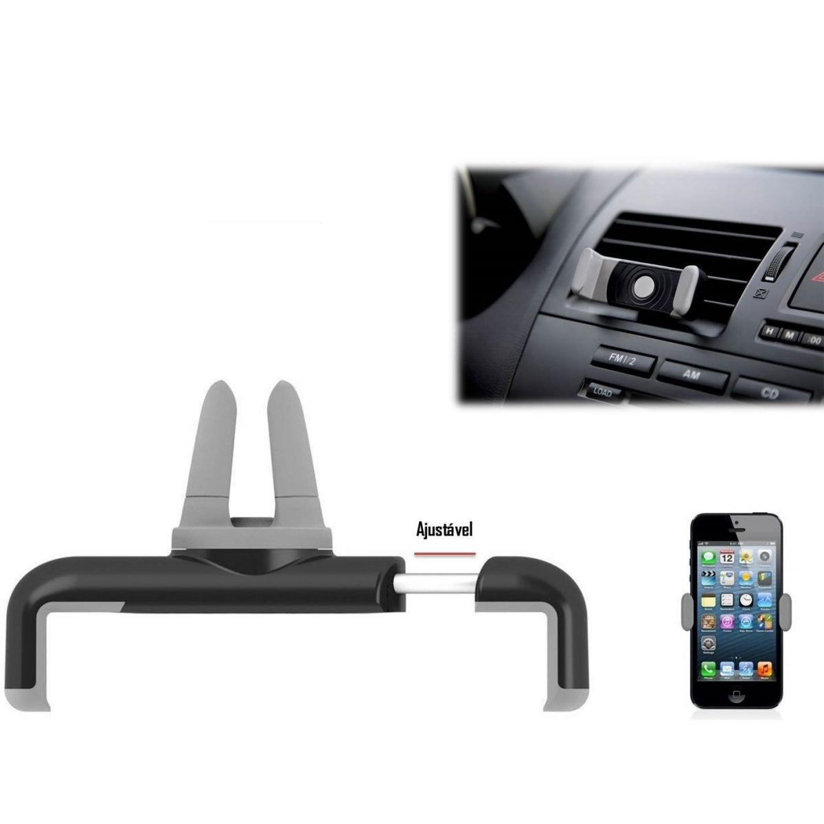 Suporte Veicular Universal para SmartPhone Ligue Saída do Ar Condicionado Mymax MACT-CH/BK