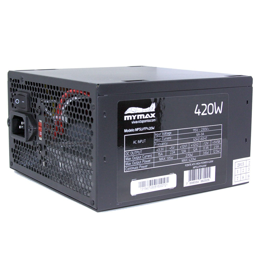 Fonte 420w Atx High Power 24 Pinos  Led Azul Mymax MPSU/FP420W