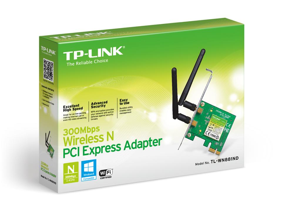 Placa de rede Wireless Pci Express X1 Tp Link TL-WN881ND 2 Antenas 300 mbps