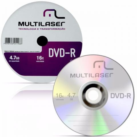 Kit com 50 Mídias Virgens DVD-R 4.7GB 16X Multilaser Shrink DV061