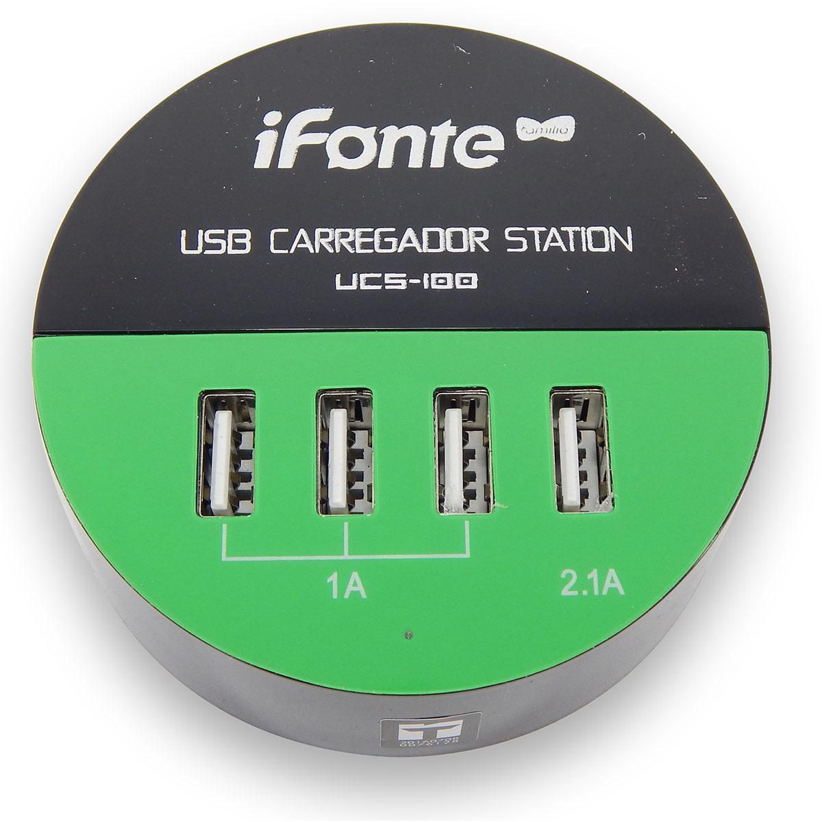 Carregador USB Station 4 Portas 1A e 2.1A Infokit UCS 100 Preto com Verde