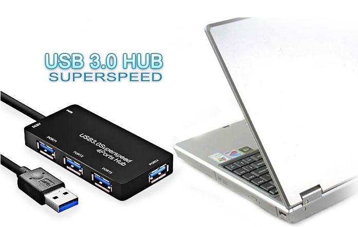 Hub USB 3.0 4 Portas 4.8GB/s Preto DEX BYL-3013