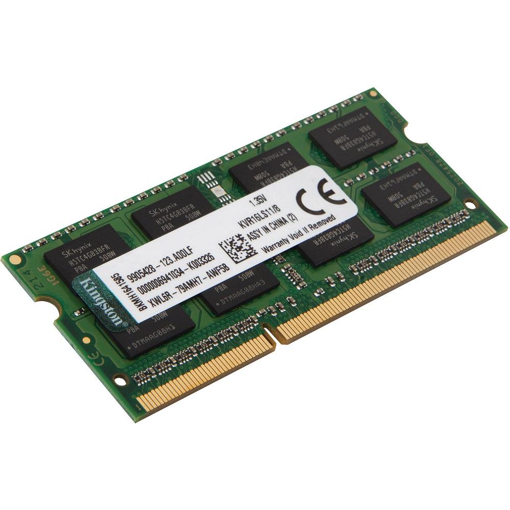 Memória 8GB Kingston DDR3L Low Voltagem 1600Mhz Para Notebook KVR16LS11/8
