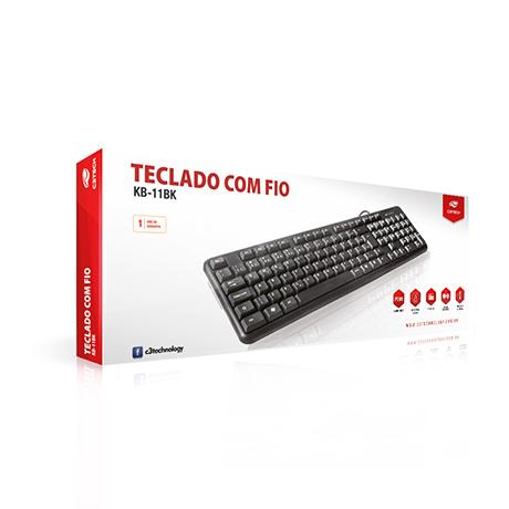 Teclado USB com Fio ABNT2 110 Teclas C3 Tech KB-11BK