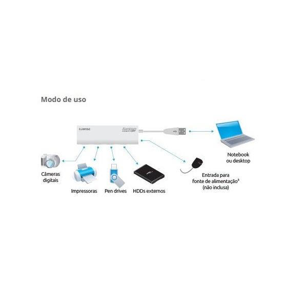Hub USB 3.0 4 Portas Comtac Aluminium 9305 com Entrada para Fonte