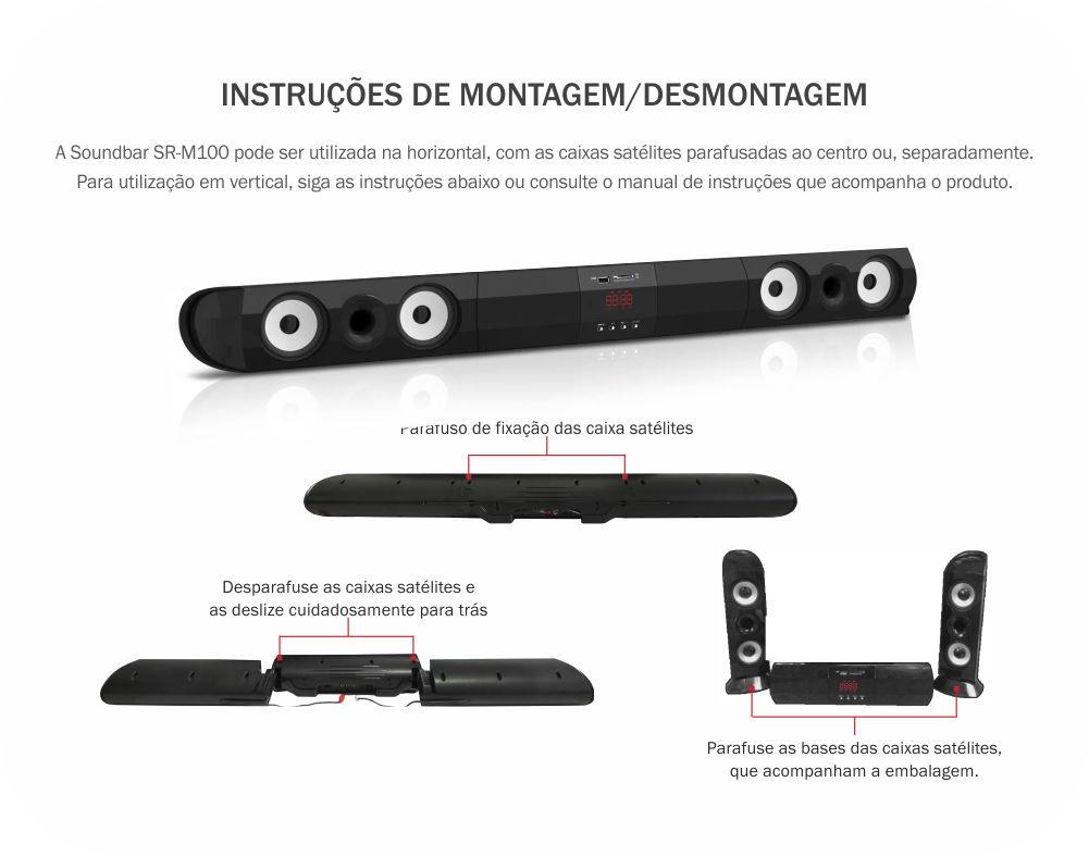 Home Theater Soundbar Entrada Usb Sd Tv 50w Rms Led Luminoso SR-M100 Kmex