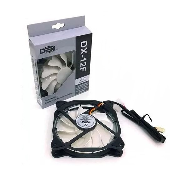 Cooler Fan 120mm com LED Branco DEX DX-12F