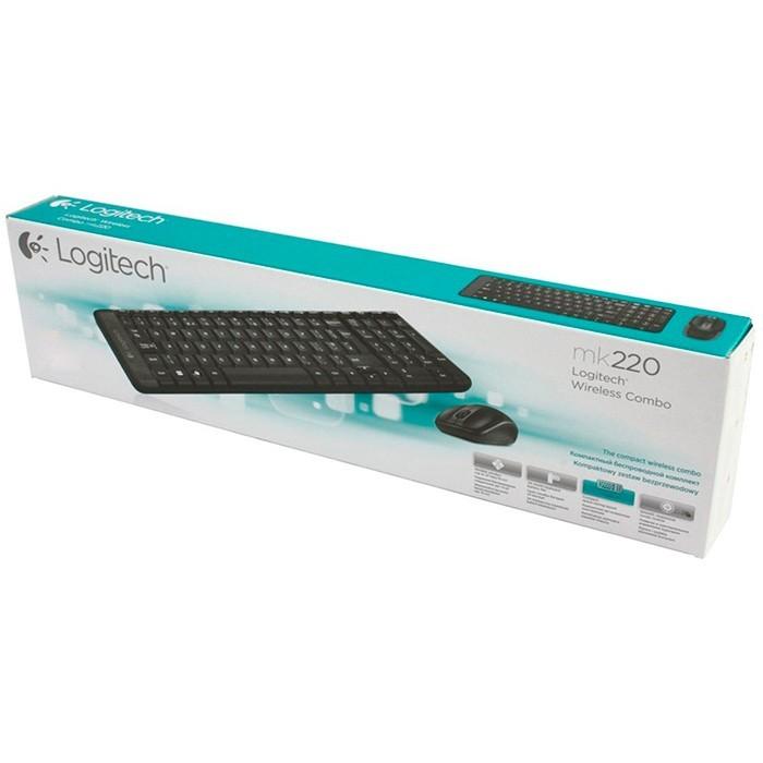 Kit Teclado e Mouse Sem Fio Logitech MK220 Preto