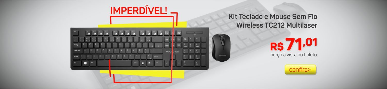 Kit Teclado e Mouse sem Fio Mutilaser TC212