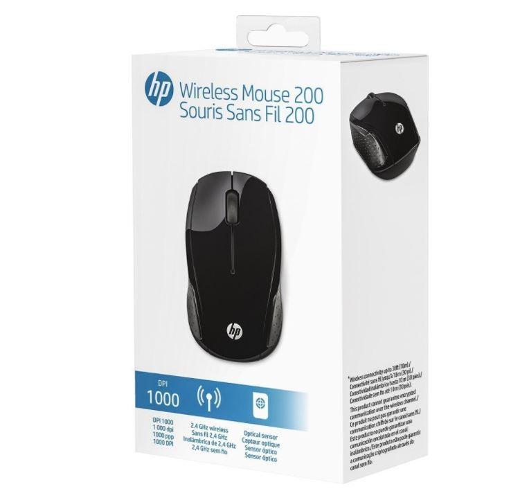 Mouse Sem Fio Wireless HP X200 Oman 2,4 GHz 1000dpi Optico Preto