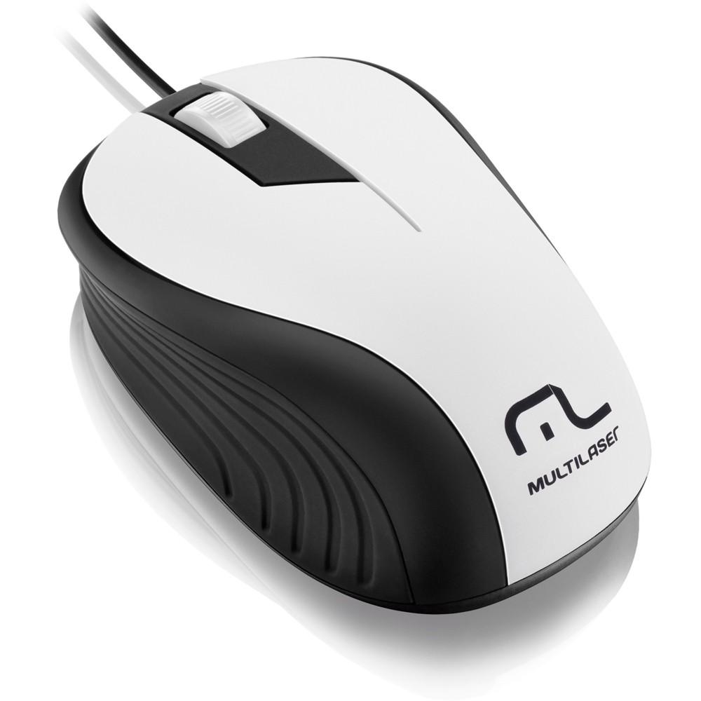 Mouse Óptico Multilaser Emborrachado Branco e Preto Wave MO224 1200DPI