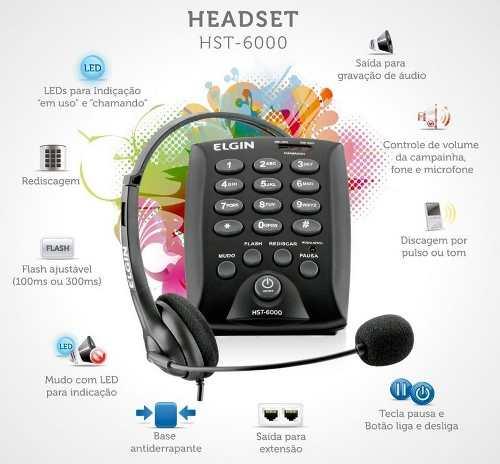 Telefone Headset Elgin Hst-6000 com Gravador de Audio