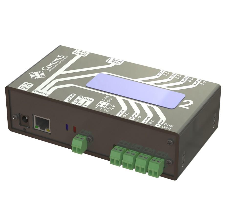 Módulo de Acionamento via Rede 10/100 C/ 4 saídas, 4 entradas, 2 Portas Seriais e Display Acoplado Comm5 MA-2000-2