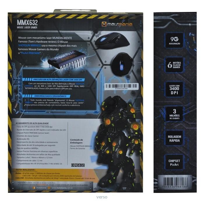 Mouse Gamer USB Com Mecanismo Laser 3400 DPI Chipset PixArt Mais Mania MMX632