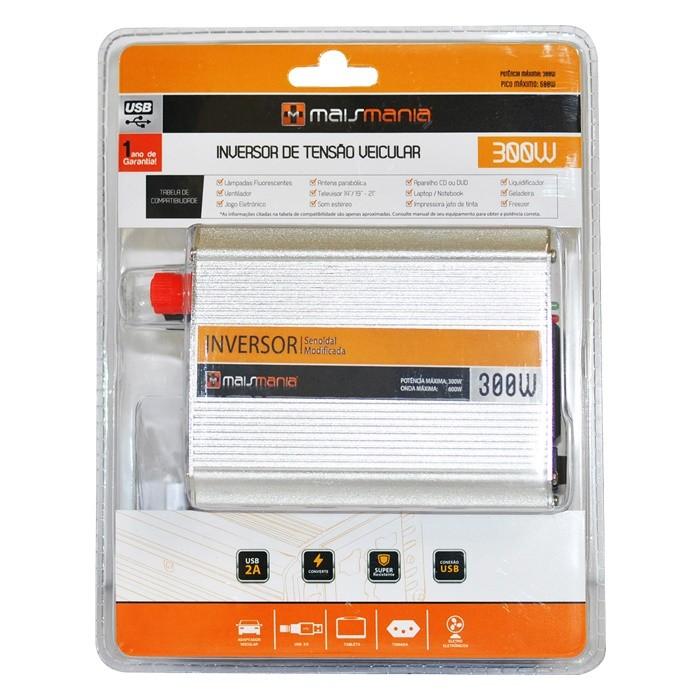 Inversor De Tensão Veicular 300W 12v para 220v com Porta USB Mais Mania MM767