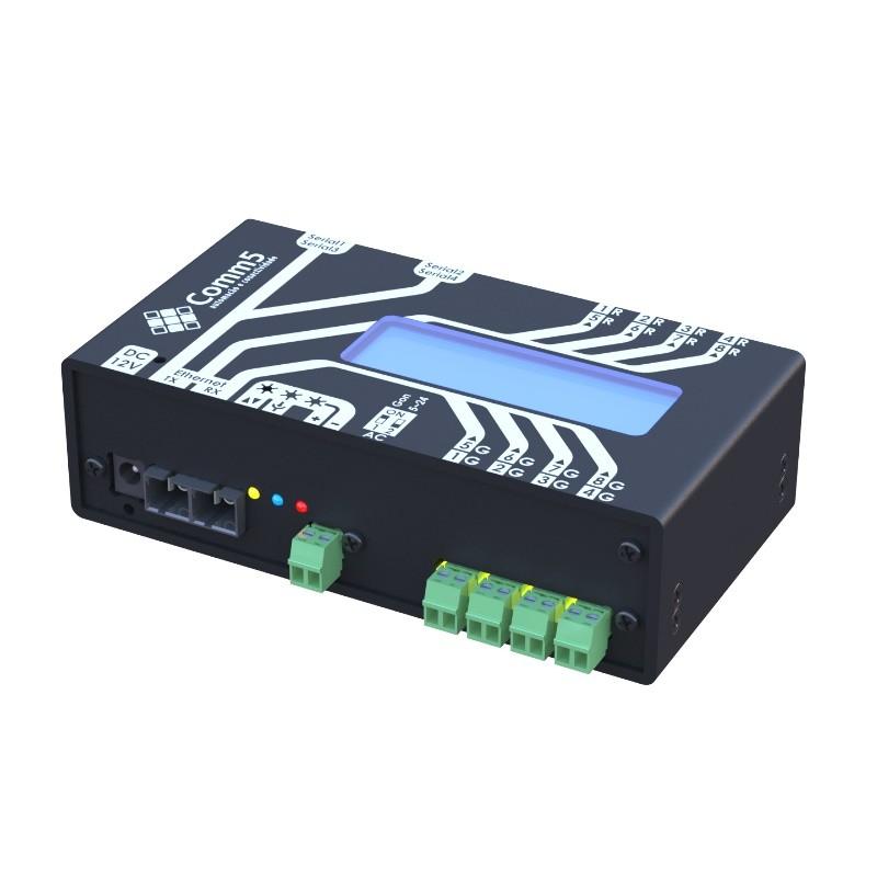 Módulo de Acionamento via rede fibra ótica 100Base-FX com 4 saídas, 4 entradas, 2 portas seriais e Display acoplado Comm5 MA-2000-2FX