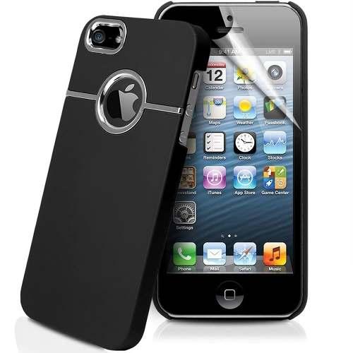 Case Capinha para Iphone 5 e 5s Preto com detalhe Cromado Mymax