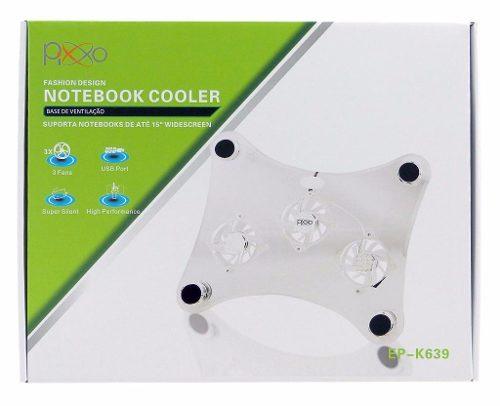 Base para Notebook em Acrílico 3 Cooler Led Azul e Hub Usb EP-K639