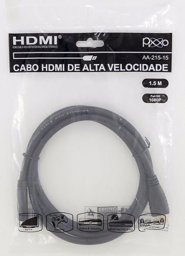 Cabo Hdmi 1,50 Metros 1.4 Full Hd 1080p 3d 4k Ultra Hd Pixxo AA-215-15
