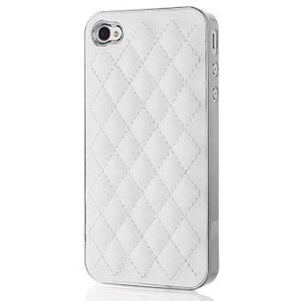Case Capinha para Iphone 4 e 4s Branca Couro com detalhe Prata Mymax
