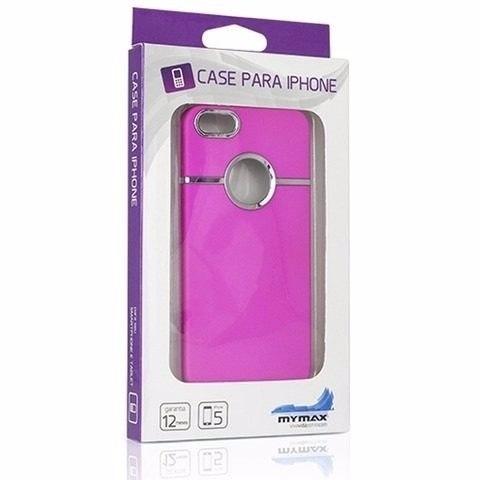 Capa Rosa Pink Com Detalhe Cromado Para Iphone 5 E 5s MASC-1017/PK - Mymax