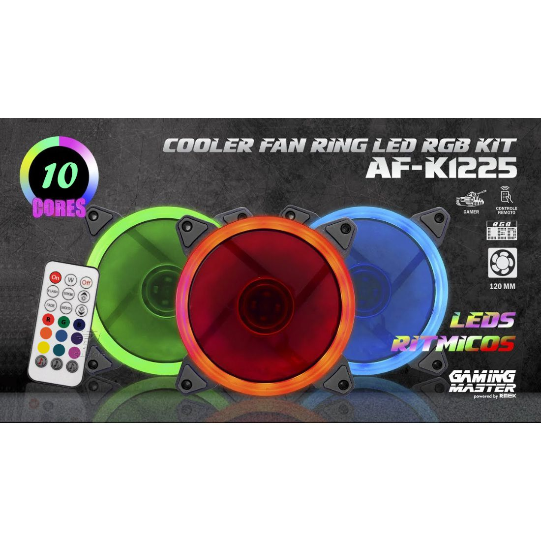 3 Cooler Fan 120mm RGB Ring LED Conforme Música com Controle Remoto Kmex AF-K1225