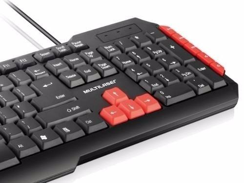 Teclado USB Multimidia Gamer Jogos Red Keys Multilaser Tc160