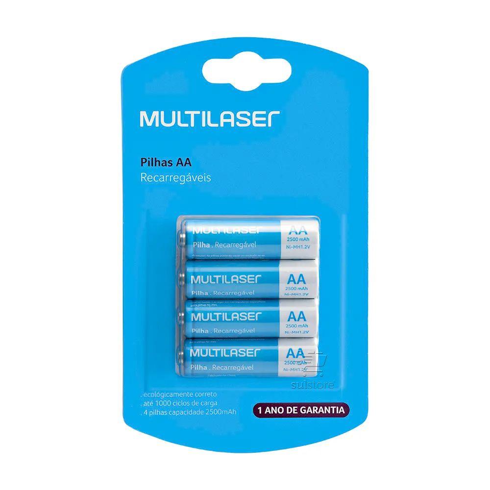 4 Pilhas Recarregáveis 2A (AA) 2500mAh Multilaser CB052 Até 1000 Ciclos