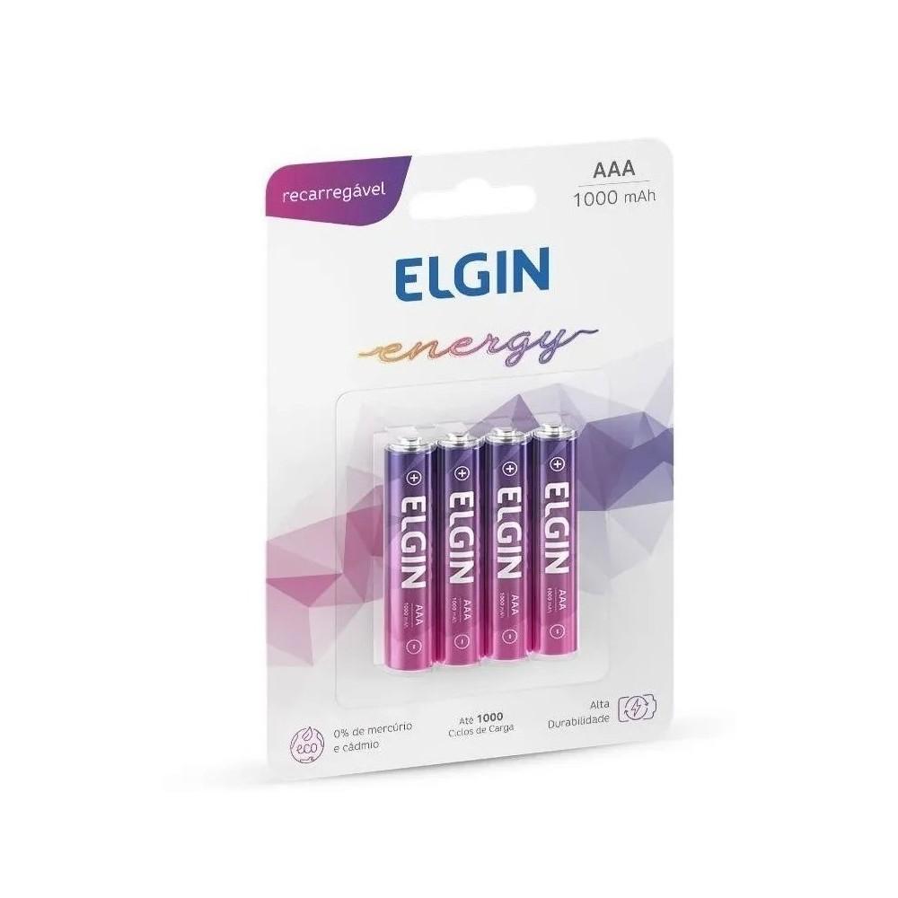 4 Pilhas Recarregáveis AAA Palito 1000mah Elgin 1.2 Volts (3A)