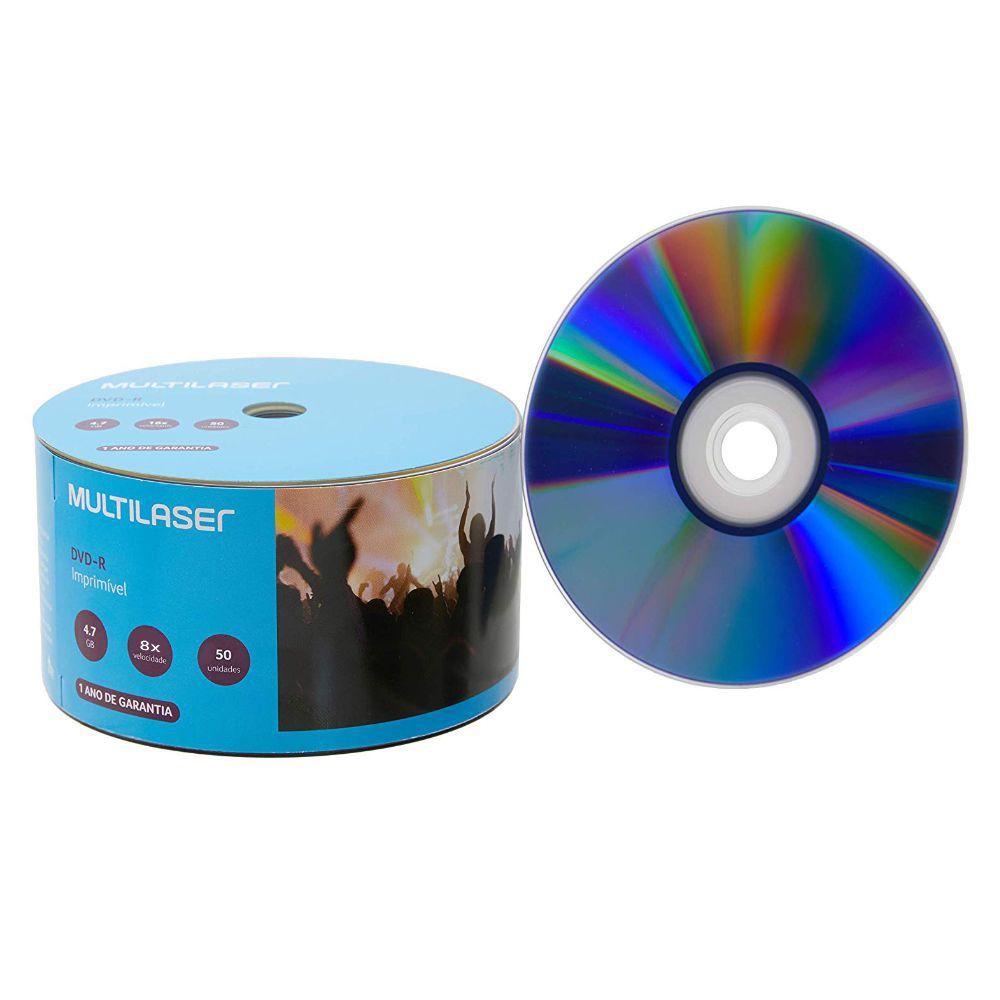 50 Mídias Virgem DVD Multilaser Printable DV052 Mídia de 4.7GB DVD-R Imprimível