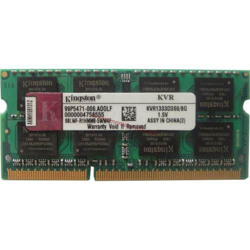Memória Ram DDR3 8gb 1333Mhz Pc3-10600 Kingston KVR1333D3S9/8G Notebook