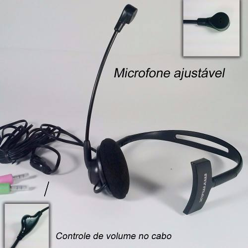 Headset Unilateral Haste Ajustável Fone 30mm C/ Controle Vol