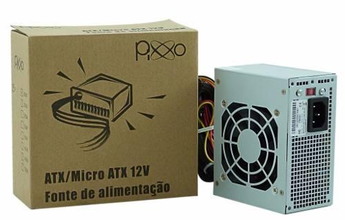 Mini Fonte Para Gabinete Slim Micro Atx 200w Reais Pixxo PL-200WRPBG