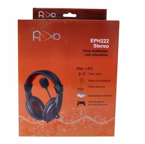 Fone de Ouvido Headset P2 c/ Microfone c/ Controle de Volume No Cabo Pixxo EPH222