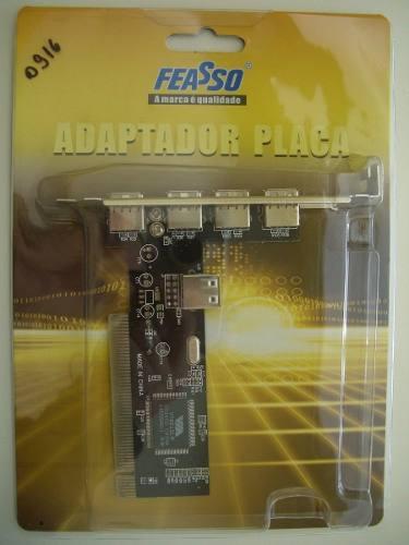 Placa Pci Usb 5 Portas 2.0 480mbps Chipset Via Feasso JPU-01