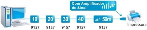 Cabo Extensor Usb 10 Metros Com Amplificador De Sinal Comtac 9157