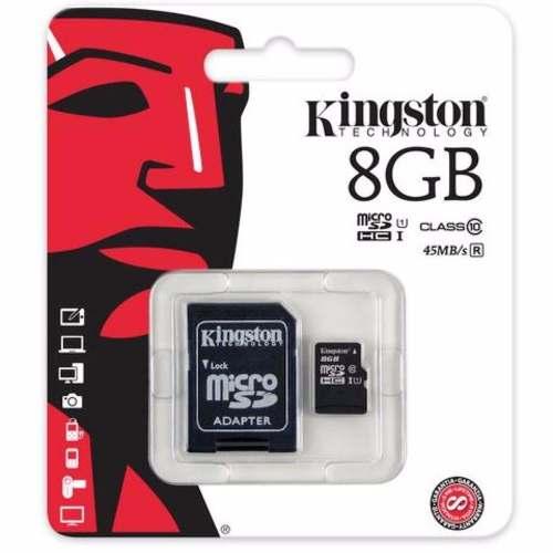 Cartão De Memória Micro Sd 8gb Kingston Sdhc Classe 10 45mbs
