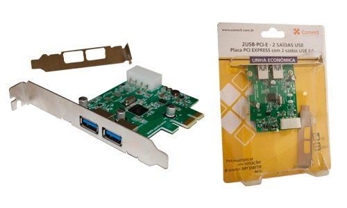Placa Usb 3.0 5gbps Pci-e X1 Com 2 Portas + Perfil Baixo Comm5 2USB-PCI-E