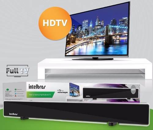 Antena Tv Digital Amplificada 28dB Interna HDTV VHF UHF Intelbras Ai3100