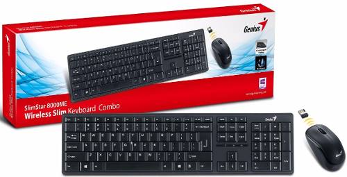 Kit Teclado e Mouse Wifi Genius Slim Star 8000 2.4ghz