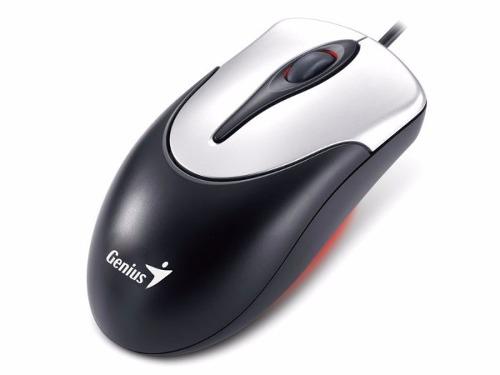 Mouse Optico Usb 800 DPI Preto Com Prata Genius Ns 100