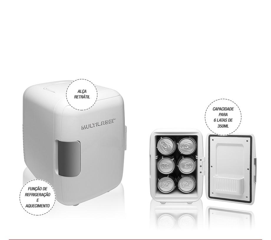 Mini Geladeira Portátil Branca 4 Litros Refrigera e Aquece 110 Volts Multilaser TV009